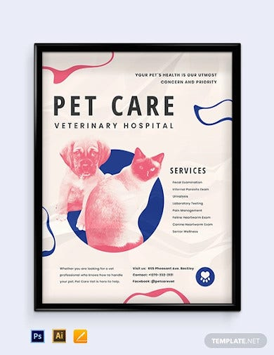 animal hospital poster template