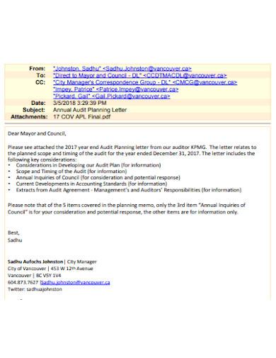 annual audit planning letter