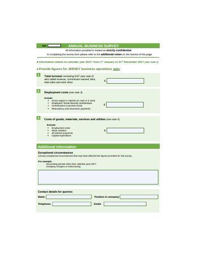 annual business survey format