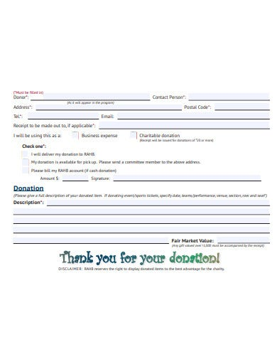annual charity auction receipt template