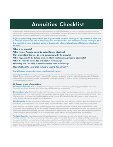 annuity checklist template