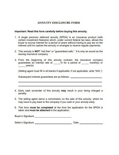annuity disclosure form example