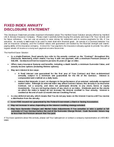 annuity disclosure statement template