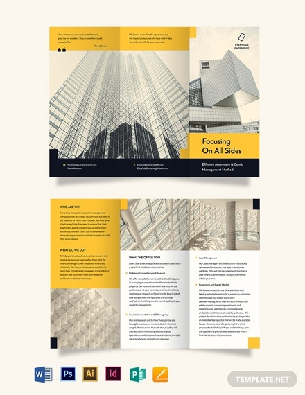 apartment condo property management tri fold brochure