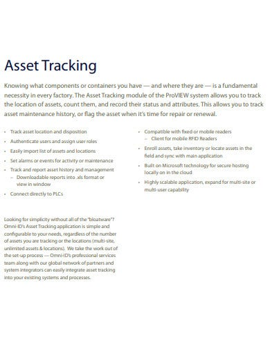 asset tracking template