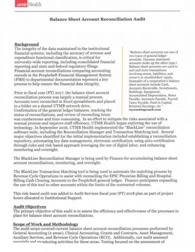 audit balance sheet account reconciliation