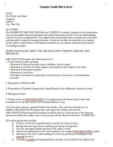 audit bid letter