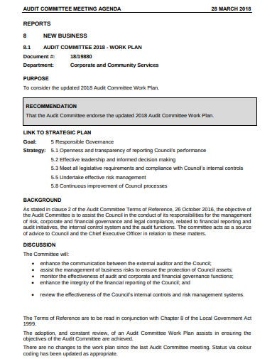 audit council committee meeting agenda template