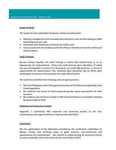 audit finding response corrective action plan template