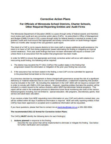 audit firm corrective action plan template
