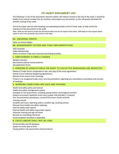 audit internal list template