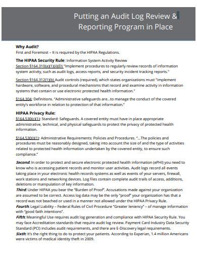 audit log review reporting