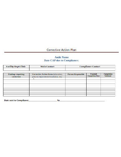 audit name corrective action plan template