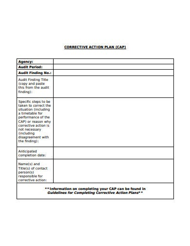 audit period corrective action plan template