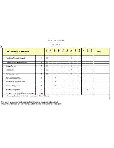 audit schedule template in doc