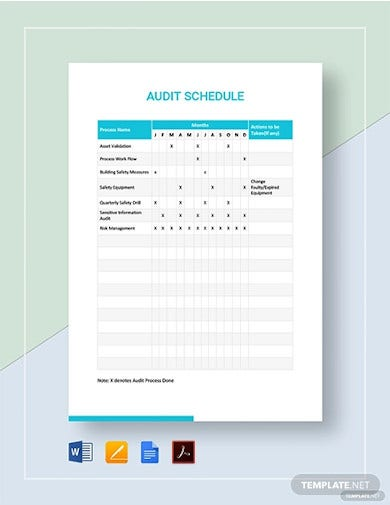 audit schedule template