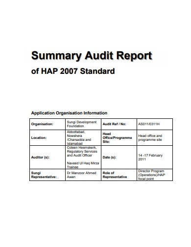 audit summary notes template