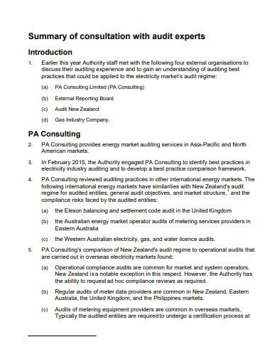 audit summary template in pdf