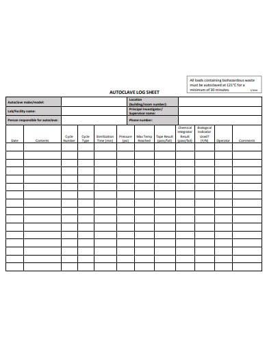 autoclave log sheet template