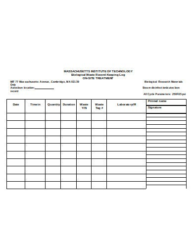 autoclave log sheet in doc