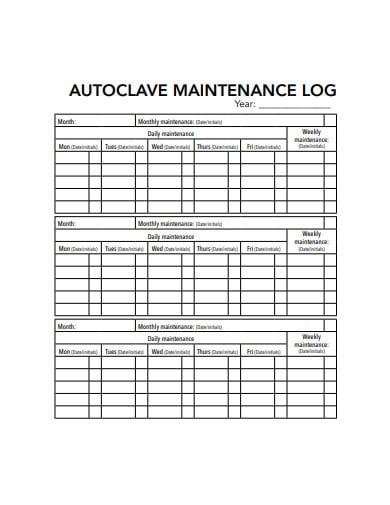 autoclave maintenance log sheet template