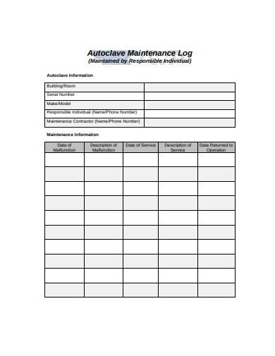 autoclave maintenance log in pdf