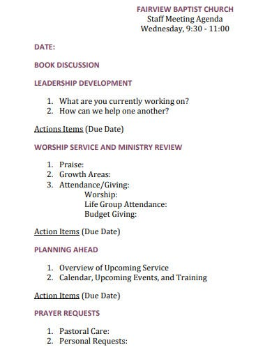 baptist church meeting agenda template