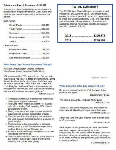 baptist church unified budget template