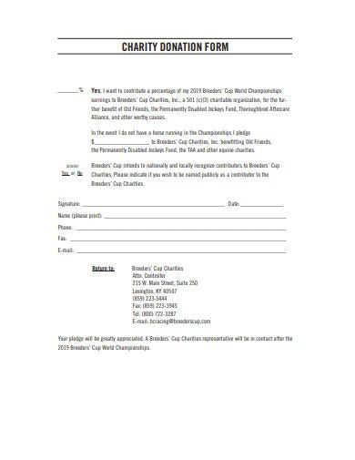 basic charity donation form example