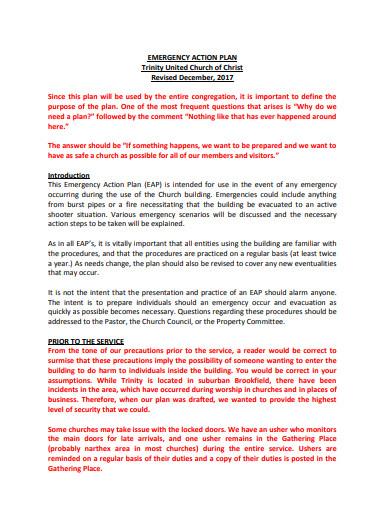 basic church emergency action plan