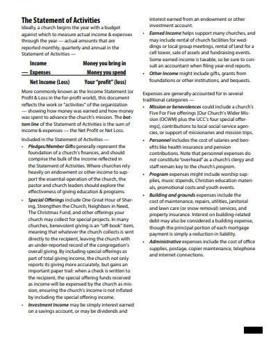 basic church profit and loss statement template