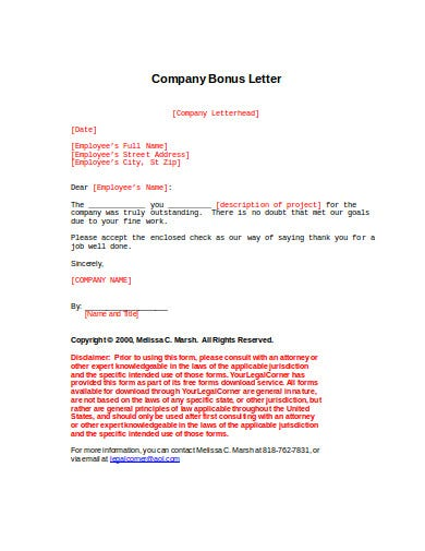 4  Company Bonus Letter Templates In Google Docs