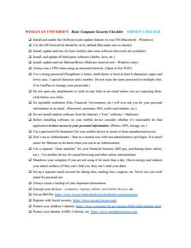 basic computer security checklist example