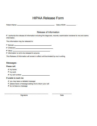 12 Hipaa Release Form Templates In Pdf Doc Free