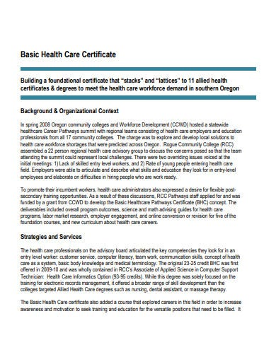 basic health care certificate template
