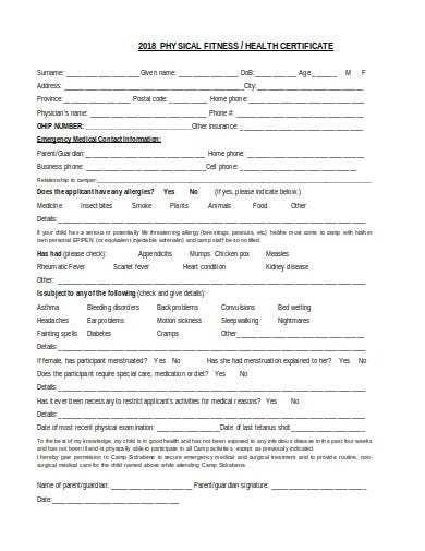 basic health certificate form template