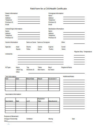 basic health certificate form in pdf