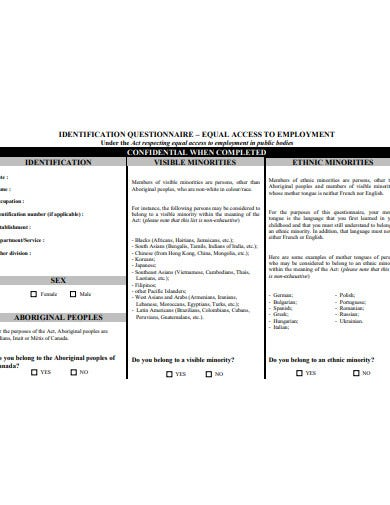 basic identification questionnaire