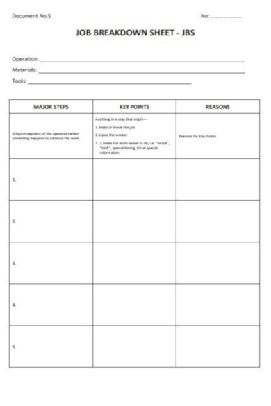 basic job breakdown sheet