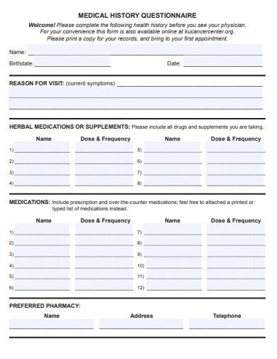basic medical history questionnaire template