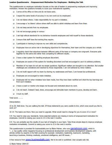 basic motivation questionnaire