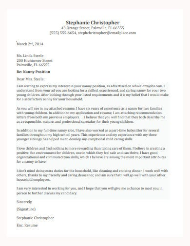 basic nanny cover letter template