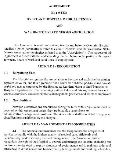 basic nursing contract agreement template