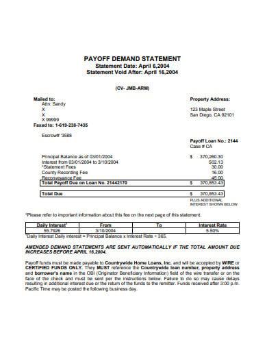 basic payoff demand statement