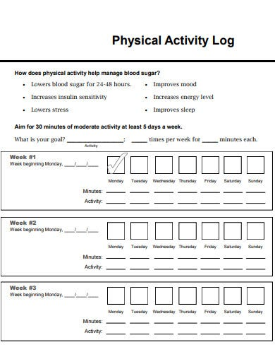 basic physical activity log template