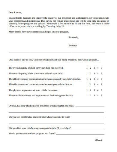 basic preschool parent survey