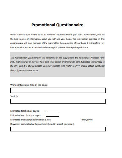 basic promotional questionnaire template