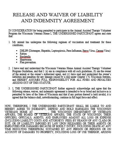 basic release liability agreement template