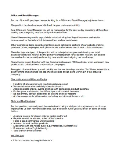 basic retail manager cover letter