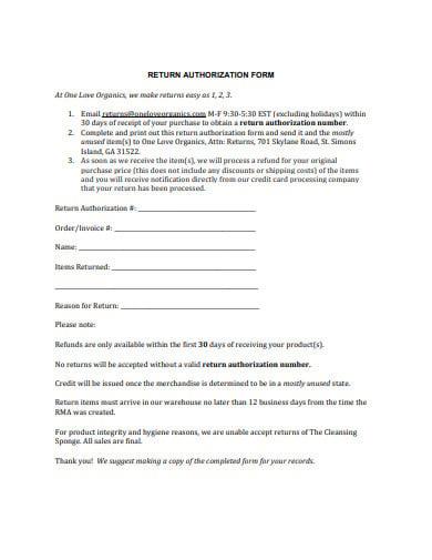 basic return authorization form example